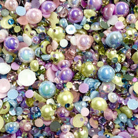 2-10mm Mixed Pearls and Rhinestones Resin Round Flat Back Loose Pearls #33 - 2000pcs
