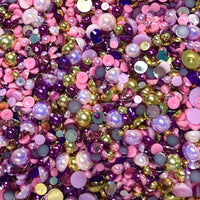 2-10mm Mixed Pearls and Rhinestones Resin Round Flat Back Loose Pearls #34 - 2000pcs