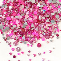2-6mm Mixed Pink, Rose, Hot Pink Resin Jelly Round Flat Back Loose Rhinestones