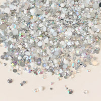 2-6mm Mixed White, Crystal AB, Silver Resin Jelly Round Flat Back Loose Rhinestones