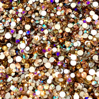 SS6-SS20/2-5mm Champs, Rose Gold, Topaz Glass Round Flat Back Rhinestones Mixed Set - 1,000pcs