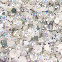 2-10mm Mixed Pearls and Rhinestones Resin Round Flat Back Loose Pearls #36 - 1000pcs