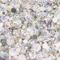 2-10mm Mixed Pearls and Rhinestones Resin Round Flat Back Loose Pearls #36 - 2000pcs