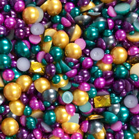 2-10mm Mixed Pearls and Rhinestones Resin Round Flat Back Loose Pearls #37 - 2000pcs