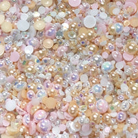 2-10mm Mixed Pearls and Rhinestones Resin Round Flat Back Loose Pearls #38 - 2000pcs