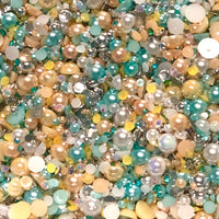 2-10mm Mixed Pearls and Rhinestones Resin Round Flat Back Loose Pearls #39 - 1000pcs