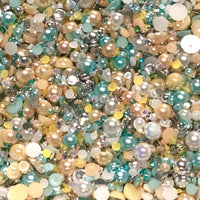 2-10mm Mixed Pearls and Rhinestones Resin Round Flat Back Loose Pearls #39 - 2000pcs