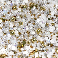 2-10mm Mixed Pearls and Rhinestones Resin Round Flat Back Loose Pearls #40 - 2000pcs