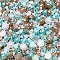 2-10mm Mixed Pearls and Rhinestones Resin Round Flat Back Loose Pearls #43 - 2000pcs