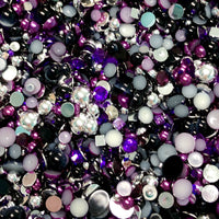 2-10mm Mixed Pearls and Rhinestones Resin Round Flat Back Loose Pearls #44 - 2000pcs
