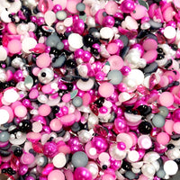 2-10mm Mixed Pearls and Rhinestones Resin Round Flat Back Loose Pearls #45 - 1000pcs