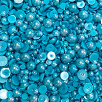 2-10mm Teal AB Resin Round Flat Back Loose Pearls - 1000pcs