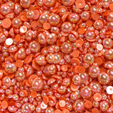 2-10mm Coral AB Resin Round Flat Back Loose Pearls - 1000pcs