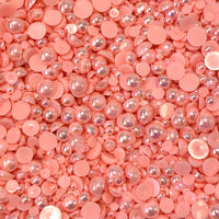 2-10mm Soft Pink AB Resin Round Flat Back Loose Pearls - 1000pcs