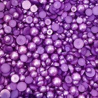 2-10mm Purple Resin Round Flat Back Loose Pearls - 1000pcs