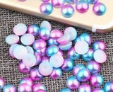 3-6mm Purple and Blue Ombre Mermaid Gradient Resin Round Flat Back Loose Pearls - 1000pcs
