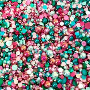 2-10mm Mixed Pearls and Rhinestones Resin Round Flat Back Loose Pearls #79 - 2000pcs