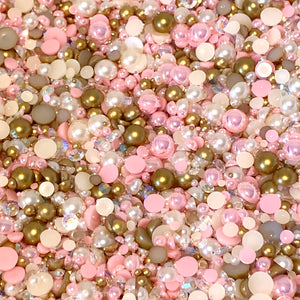 2-10mm Mixed Pearls and Rhinestones Resin Round Flat Back Loose Pearls #81 - 2000pcs