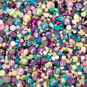 2-10mm Mixed Pearls and Rhinestones Resin Round Flat Back Loose Pearls #82 - 2000pcs