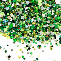 2-6mm Mix Green Resin Jelly Round Flat Back Loose Rhinestones