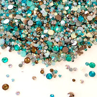 2-6mm Mix Aqua, Champs, Clear AB, Rose Gold Resin Jelly Round Flat Back Loose Rhinestones
