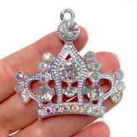 1 Piece Large Crown Flatback Rhinestone Silver Decoden Alloy Bling Cabochon DIY Phone Case Charm Accessories