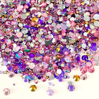 2-6mm Mix Pink, Purple, Gold Resin Jelly Round Flat Back Loose Rhinestones