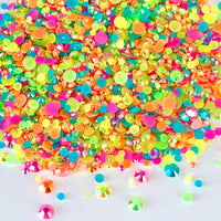 2-6mm Mix Neon Jelly Round Flat Back Loose Rhinestones