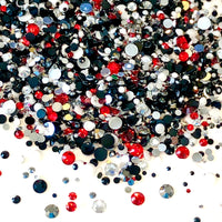 2-6mm Mix Black Red White Resin Jelly Round Flat Back Loose Rhinestones