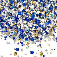 2-6mm Mix Sapphire Blue White Gold Resin Jelly Round Flat Back Loose Rhinestones