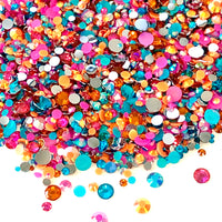 2-6mm Mix Hot Pink, Orange, Teal Resin Jelly Round Flat Back Loose Rhinestones