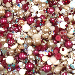 HOLIDAY 2020 MIX - 2-10mm Mixed Pearls and Rhinestones Resin Round Flat Back Loose Pearls #84 - 2000pcs