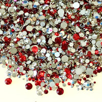 2-6mm Mix Red, Clear, Silver Resin Jelly Round Flat Back Loose Rhinestones