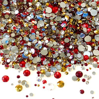 2-6mm Mix Red, Clear, Gold Resin Jelly Round Flat Back Loose Rhinestones