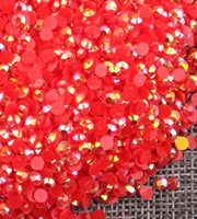 2mm Red AB Jelly Resin Flat Back Round Loose Rhinestones