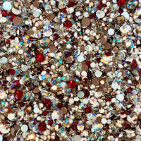 2-6mm Mix Holiday 2020 Red, White, Bronze, Clear AB Resin Jelly Round Flat Back Loose Rhinestones