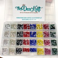 SS6-SS20 (2-5mm) Assorted Glass Round Flat Back Rhinestones with Organizer & Color Chart Set