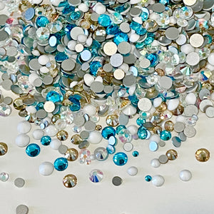 SS6-SS20/2-5mm Aqua, Gold Champagne, White, AB Glass Round Flat Back Rhinestones Mixed Set - 1,000pcs