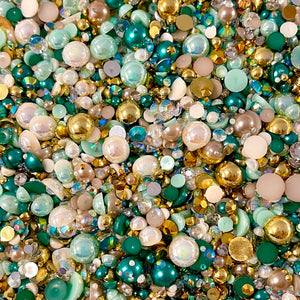 2-10mm Mixed Pearls and Rhinestones Resin Round Flat Back Loose Pearls #93 - 2000pcs