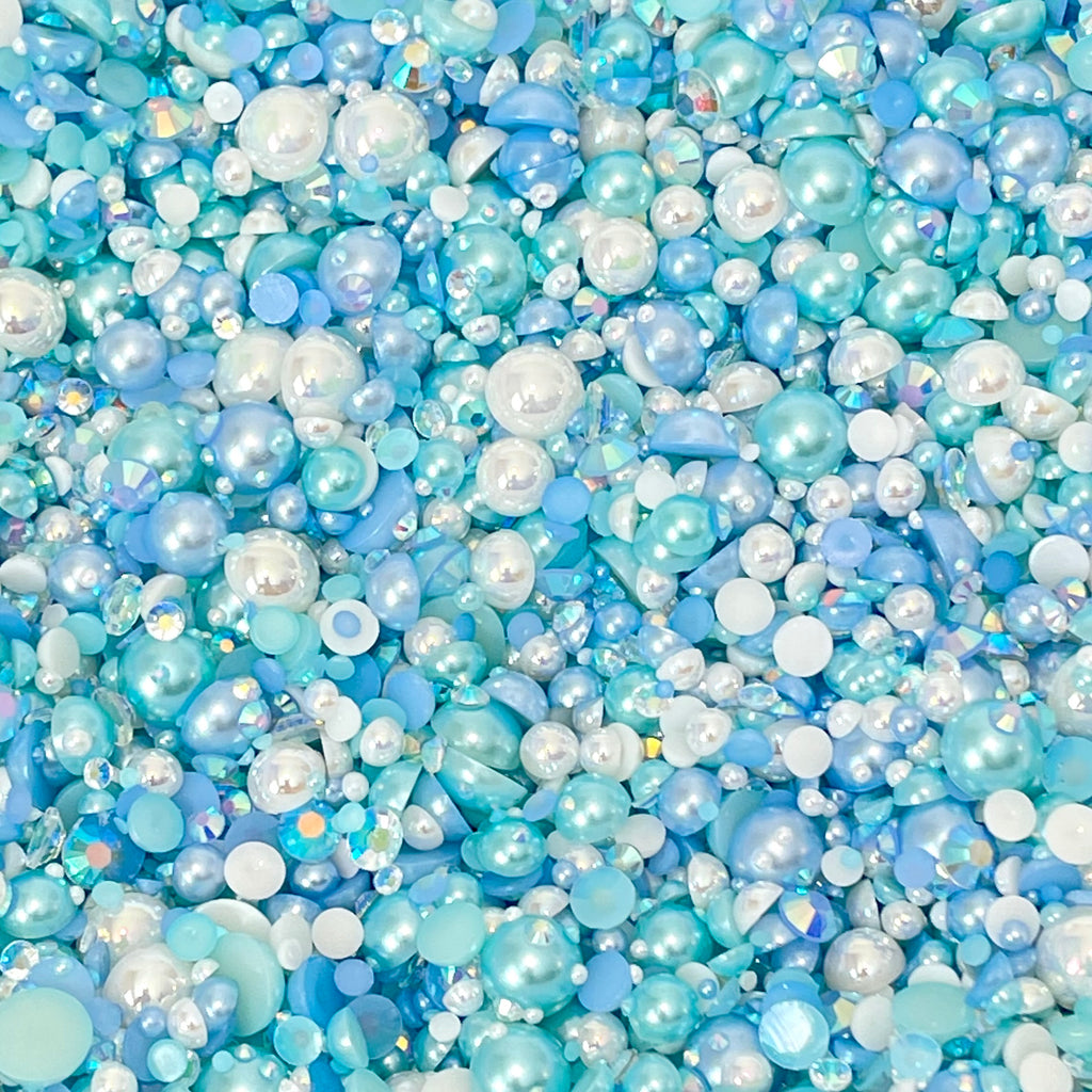 2-10mm Mixed Pearls and Rhinestones Resin Round Flat Back Loose Pearls #96 - 2000pcs