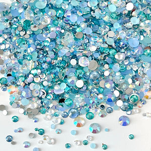 2-6mm Mix Aqua, Light Sapphire, Clear AB Jelly Resin Round Flat Back Loose Rhinestones