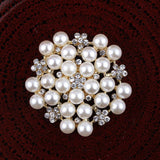 30mm Pearl & Rhinestone GOLD Flatback Buttons (NO SHANK) Embellishments Wedding Bridal Hair Accessory Flower Centers