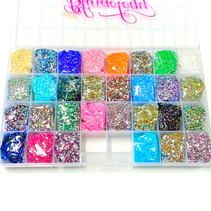 3mm Assorted Resin & Jelly Rhinestone Kit Round Flat Back Loose Rhinestones Kit - 150,000pcs
