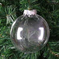 10cm Round FLAT Clear Plastic Christmas Ornament