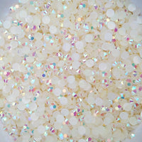 4mm Ivory AB Jelly Resin Round Flat Back Loose Rhinestones