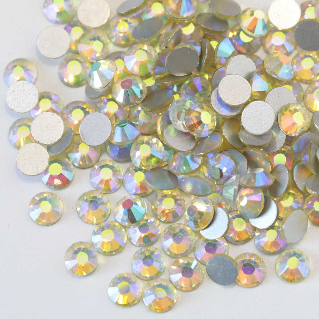 SS30/6mm Jonquil Light Yellow AB Glass Round Flat Back Loose Rhinestones - 288pcs