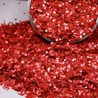 Red Chunky Holographic Glitter, Polyester Glitter - 1oz/30g