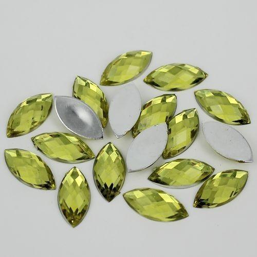 100 Piece 7x15mm LIGHT YELLOW Marquis Shape Acrylic Flatback Rhinestones (TDKPR1566) - TheDecoKraft