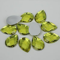50 Piece 10x14mm LIGHT YELLOW Teardrop Shape Acrylic Flatback Rhinestones (TDKPR1615) - TheDecoKraft
