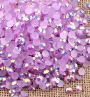 2-6mm Mixed Light Amethyst Jelly Resin Round Flat Back Loose Rhinestones